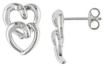 Other Sterling Silver Diamond Stacked Heart Love Double Interlocking Stud Earrings