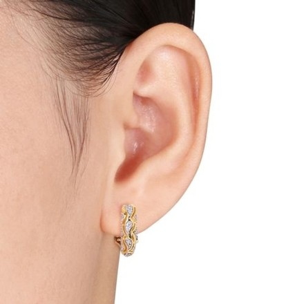 Other Yellow Sterling Silver Accent Diamond Geometric Stud Earrings