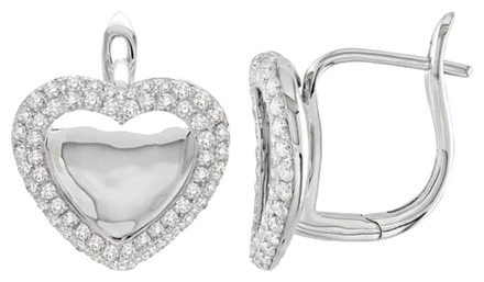 Other 14k White Gold Accent Diamond Heart Love Stud Earrings 0.8 Cttw G-h Si