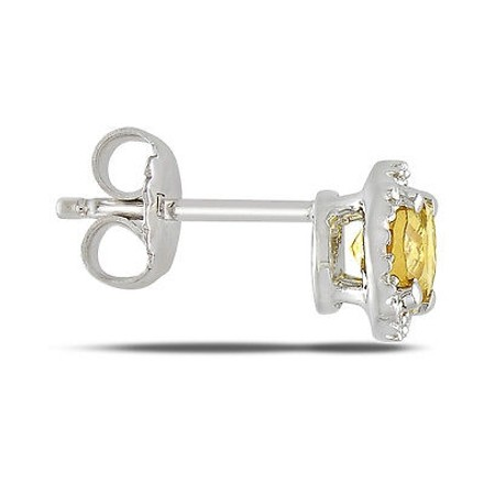 Other Sterling Silver Diamond And 78 Ct Tgw Citrine Ear Pin Earrings Gh I3