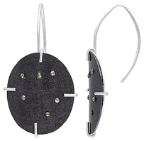 Other Sterling Silver Black Marcasite Circle Stud Earrings