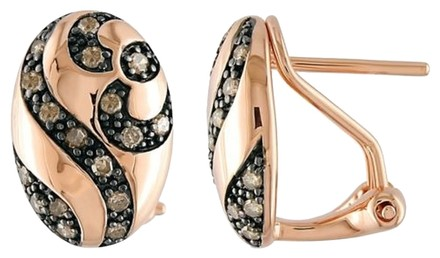 Other Rose Gold Flashed Silver Brown Accent Diamond Geometric Stud Earrings 0.3 Cttw