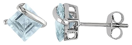 Other 10k White Gold 2 Ct Tgw Aquamarine Ear Pin Earrings