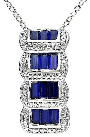 Other Sterling Silver Blue Sapphire Stacked Pendant Necklace 18 Inch Chain
