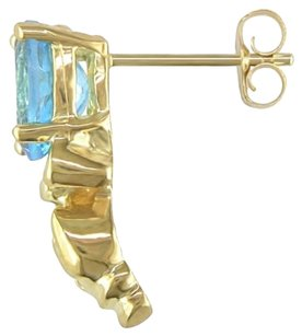 Other 10k Yellow Gold Blue Topaz Stud Earrings 2.6 Ct Tgw