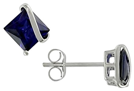 Other 10k White Gold Created Sapphire Stud Earrings 2.68 Ct Tgw