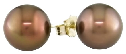 Other 14k Yellow Gold 9-9.5mm Tahitian Chocolate Pearl Stud Earrings