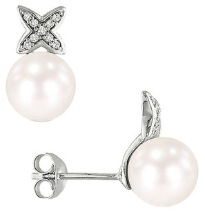 Sterling Silver 7.5-8 Mm Pearl Diamond Accent Stud Earrings 0.1 Cttw H-i I3
