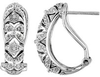 Other Sterling Silver Accent Diamond Geometric Stud Earrings 0.1 Cttw H-i I3