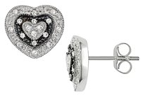 Other 10k White Gold Diamond Stud Heart Love Earrings 0.2 Cttw G-h I2-i3