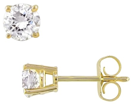 Other 14k Yellow Gold Diamond Solitaire Square Geometric Stud Earrings 0.75 Ct Vs2-si1