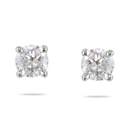 Other 14k White Gold 14 Ct Diamond Martini Solitaire Earrings Si1-si2 Igl Certified