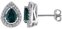 Sterling Silver 1 34 Ct Tgw Emerald White Sapphire Ear Pin Earrings