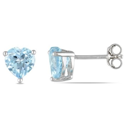 Other Sterling Silver Blue Topaz Heart Love Stud Earrings 2 Ct Tgw
