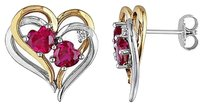 Other Sterling Silver Two-tone Double Heart Interlock Stacked Love Ruby Diamond