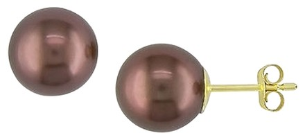 Other 14k Yellow Gold Freshwater Brown Pearl Stud Earrings 10.5-11.0 Mm