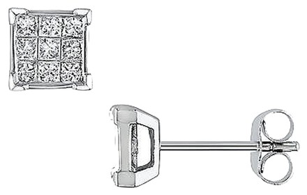 Other Amour 14k White Gold 12 Ct Princess Cut Diamond Stud Earrings G-h Si