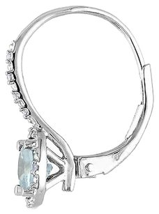 Sterling Silver Aquamarine Accent Diamond Leverback Earrings 1.56 Ct G-h I3
