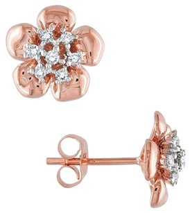 14k Rose Gold Diamond Stud Earrings 0.16 Cttw G-h I1-i2