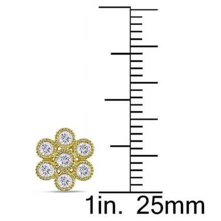 Other 14k Yellow Gold Diamond Flower Nature Earrings 0.5 Cttw G-h Si