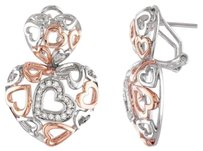Other Sterling Silver Diamond Heart Love Web Two-tone Geometric Stud Earrings 0.25 Ct