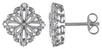 Sterling Silver 110 Ct Diamond Tw Floral Ear Pin Earrings I3
