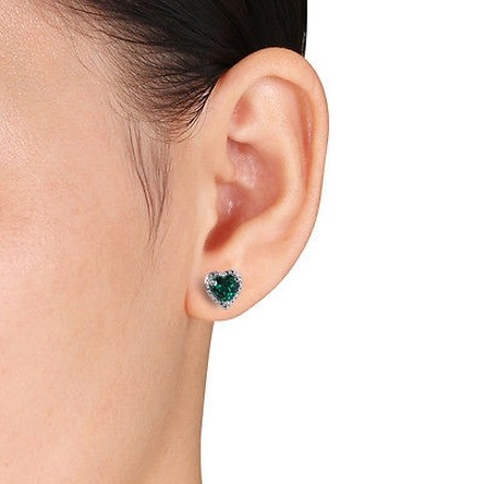 Other Sterling Silver 1 12 Ct Created Emerald Heart Love Stud Earring