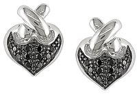 Other 14k White Gold Black Accent Heart Love Two-tone Diamond Stud Earrings 0.1 Cttw