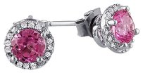 Sterling Silver Diamond And 1 16 Ct Tgw Pink Sapphire Ear Pin Earrings Gh I3