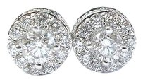 Fine Round Cut Diamond Stud Earrings White Gold 1.91ct