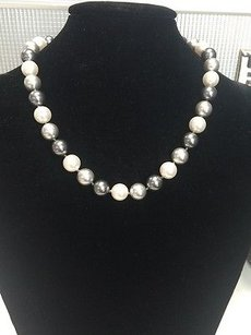 Susan Lieber Designs 19 White Silver Pewter Fresh Water Pearl Strand Necklace