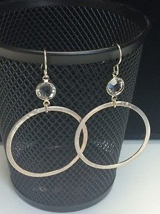 Other Susan Lieber Designs Iodized Silver Hoop Earrings Mm Clear Crystals 14