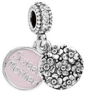 Sweet Mother Silver And Pink Enamel Mom Mother PAndora-Compatible Pendant bead charm Locket, fits Chamilia and Biagi and all European charm bracelets