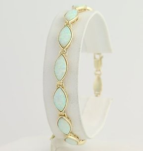 Synthetic Opal Link Bracelet 12-14k Yellow Gold October Birthstone Fine Gift