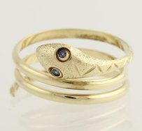 Synthetic Sapphire Snake Ring - 14k Yellow Gold Wrap Band Womens Fine Estate