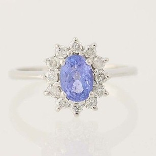 Tanzanite Diamond Halo Ring - 14k White Gold December Birthstone 1.16ctw