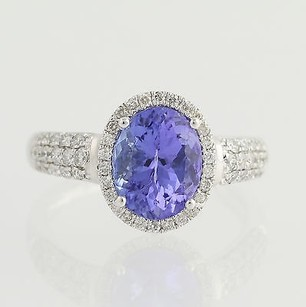 Tanzanite Diamond Halo Ring - 18k White Gold Womens Cocktail 2.94ctw