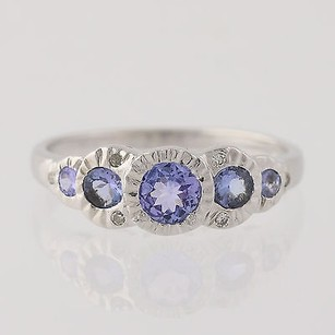Tanzanite Diamond Ring- 10k White Gold December Gift 14 Genuine .38ctw