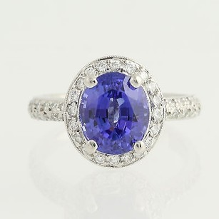 Other Tanzanite Diamond Ring - Platinum December Halo 4.03ctw