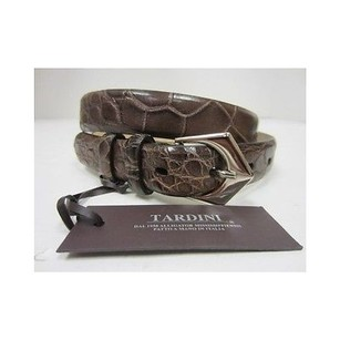 Other Tardini 3690 Brown Genuine Alligator Belt Silver Plated Buckle 40098at