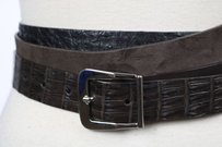 Other Tardini Womens Brown Black Belt Crocodile Animal Print Width Casual