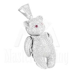 Teddy Bear Pendant Charm Iced Out Lab Diamond 925 Silver Ruby White Gold Finish