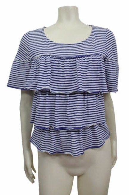 9-h15 Stcl Anthropologie Tiered Ruffle Tee Blue White #17999644 - delicate