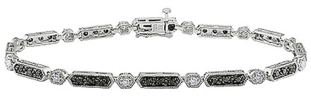 Other Sterling Silver White And Black Diamond Accent Bracelet 1 Ct H-i I3 7