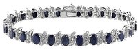 Other Sterling Silver Black Sapphire Accent Diamond Tennis Bracelet 14.91 Ct H-i I3 7