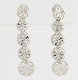 Other Textured Drop Earrings - 14k White Gold Polished Graduated Circles Pierced