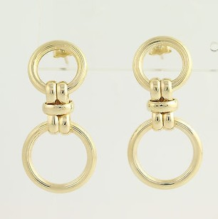 Textured Drop Earrings - 14k Yellow Gold Ribbed Pierced