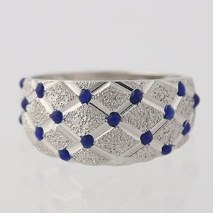 Textured Statement Ring - 14k White Gold Blue Enamel Polished Womens