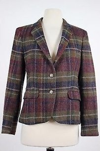 The Country Store Of Concord Womens Purple Plaid Blazer Long Sleeve