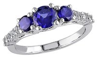 Other Sterling Silver 1 13 Ct Tgw Blue Sapphire White Sapphire 3-stone Fashion Ring